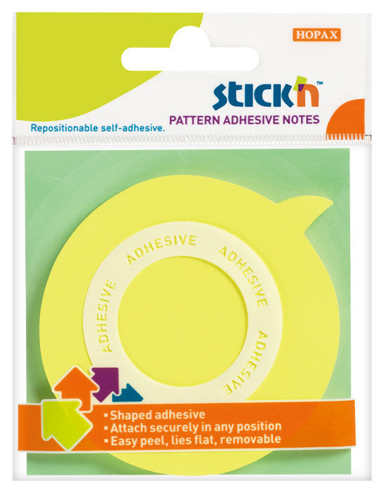 Блок самоклеящийся бумажный Hopax 21544 70x70мм 50лист. 70г/м2 неон желтый вырубной клей по периметр