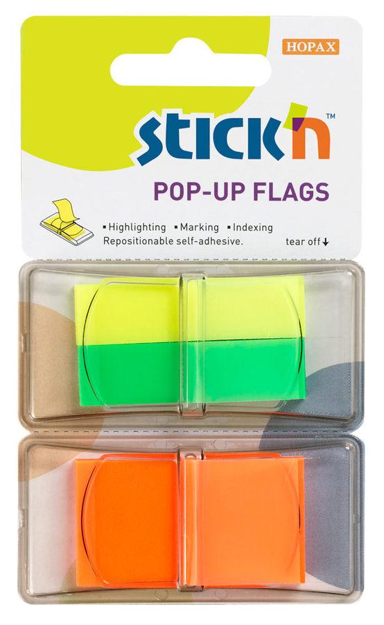 Закладки самокл. индексы пластиковые Stick`n 26005BN 3цв.в упак. 40лист Z-сложение 12x45мм+25x45мм б