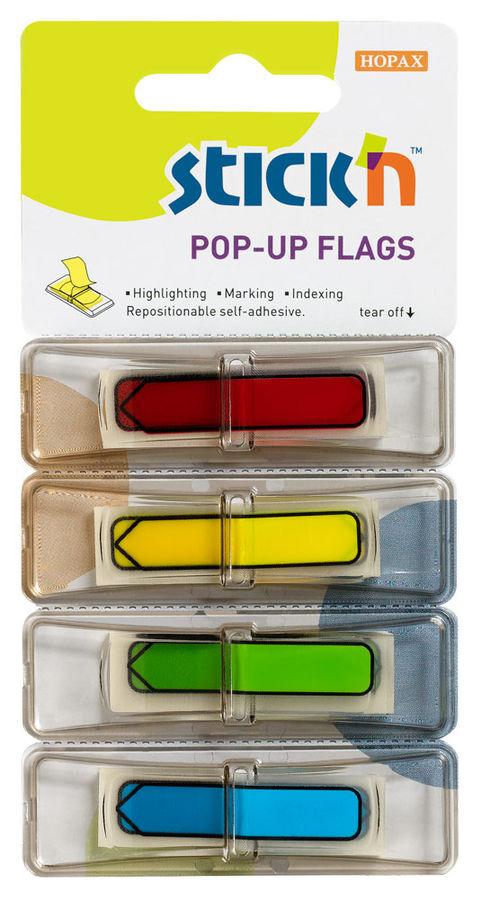 Закладки самокл. индексы пластиковые Stick`n 26018 12x45мм 4цв.в упак. 30лист Z-сложение стрелки печ