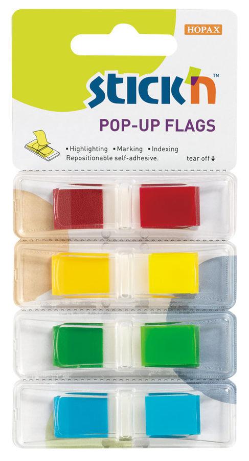 Закладки самокл. индексы пластиковые Stick`n 26020 12x45мм 4цв.в упак. 35лист Z-сложение с цветным к