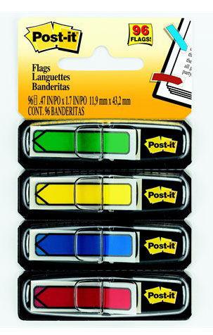 Закладки самокл. ярлыки пластиковые 3M 7000042774 12мм 4цв.в упак. 24лист стрелки