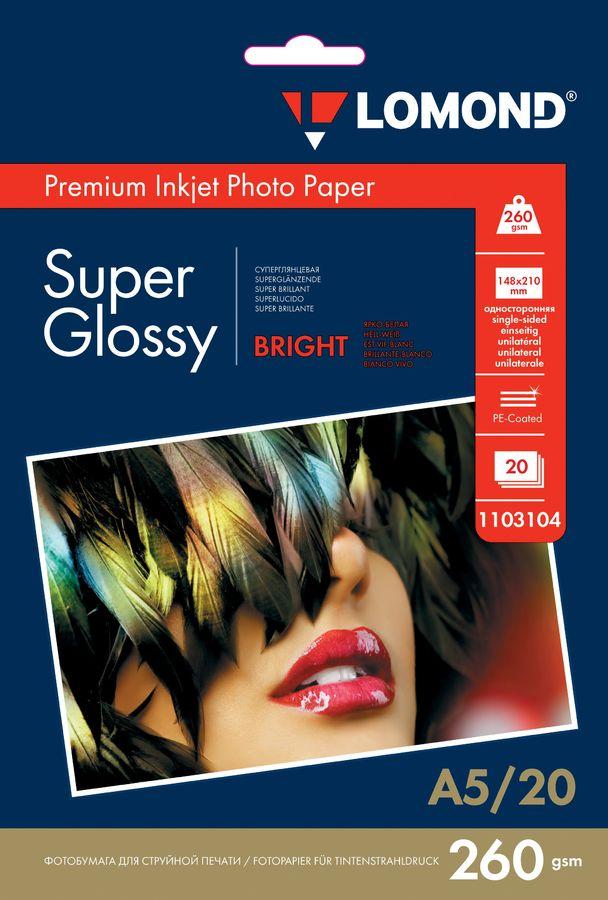 Фотобумага Lomond 1103104 A5/260г/м2/20л./белый высокоглянцевое для струйной печати