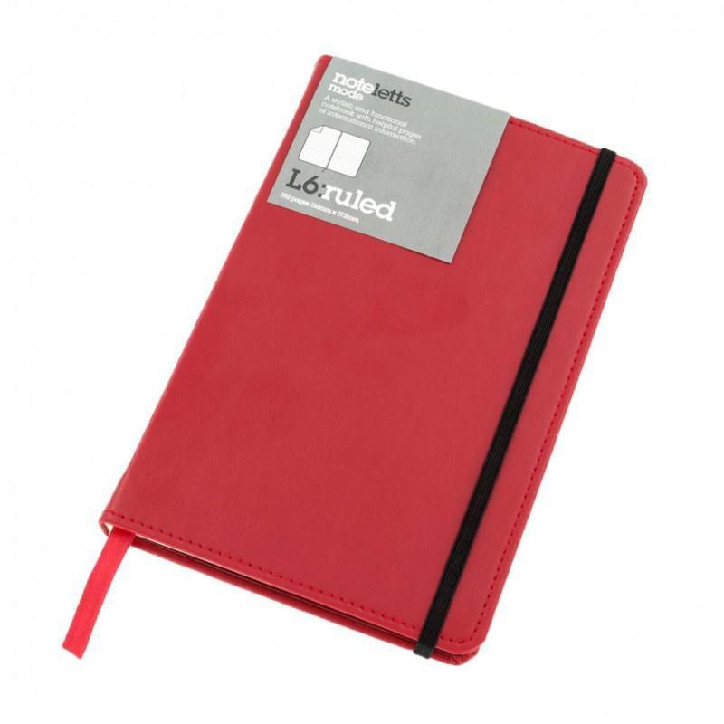 Блокнот Letts MODE 168х110мм 192 страницы линейка фиксирующая резинка обложка кожзам красный [415 206140]