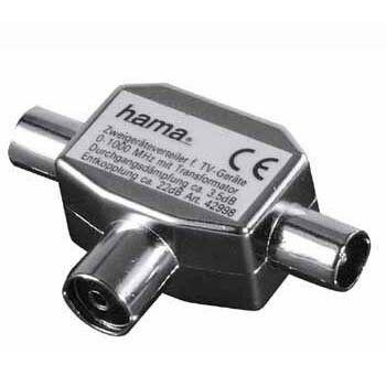 Адаптер антенный HAMA H-42998,  Coax (f)  -  2xCoax (m) ,  серебристый [00042998]