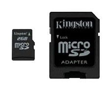 Карта памяти microSD KINGSTON 2 ГБ, 8.8 МБ/с, SDC/2GBCR,  1 шт.