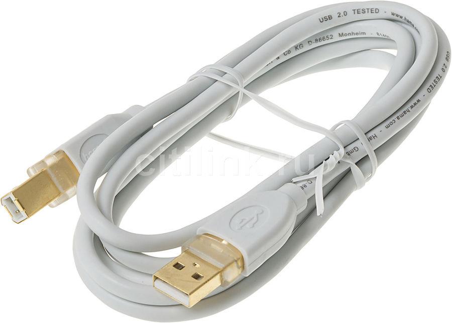 Кабель USB2.0 HAMA USB A (m) -  USB B (m),  GOLD ,  1.8м,  белый [00078462]