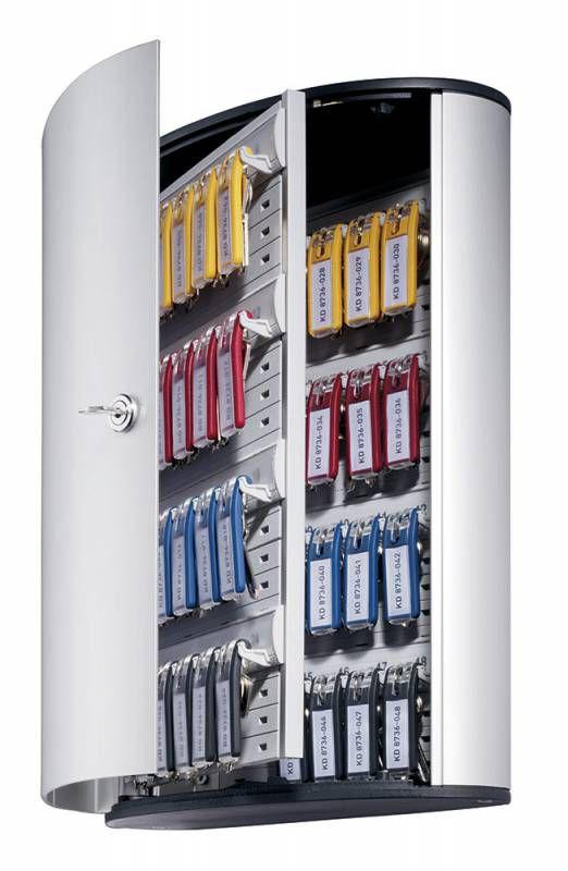 Шкафчик для ключей Durable 1954-23 на 48ключ. 302x400x118мм комппл.6 брелков серебристый алюминий