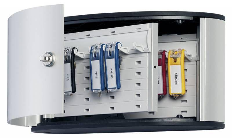 Шкафчик для ключей Durable 1960-23 на 12ключ. 160x302x118мм комппл.6 брелков серебристый алюминий