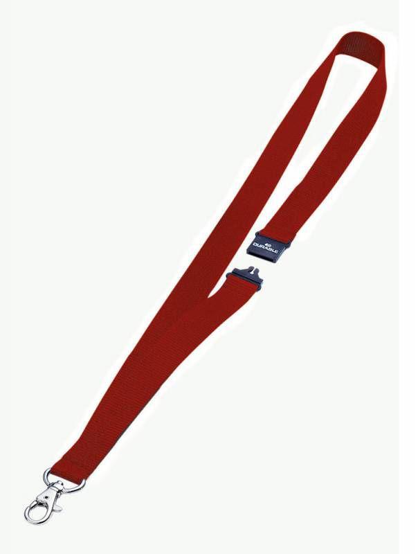 Шнур для бейджа Durable 8137-03 44х2см карабин+боковой замок шнур:красный текстильный (упак.:10шт)