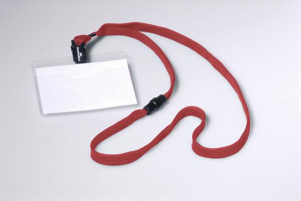 Бейдж Durable 8139-03 60х90мм горизонт. шнур:красный текстильный ПВХ (упак.:10шт)