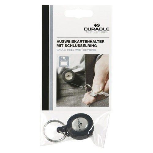 Рулетка для бейджа Durable 8227-58 80см кольцо серый (упак.:1шт) европодвес