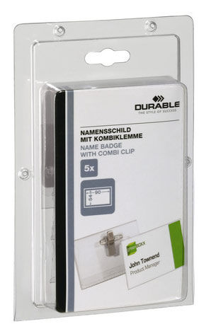 Бейдж Durable 8610-19 54х90мм булавка+зажим ПВХ прозрачный (упак.:5шт) блистер