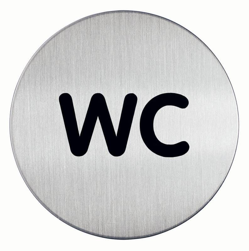 Пиктограмма DURABLE WC,  дверная,  круглая,  83х83 мм,  серебристый [490723]