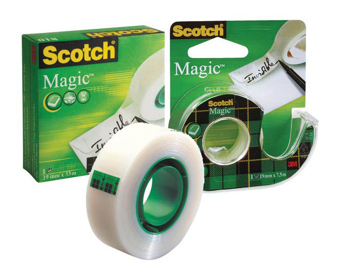 Клейкая лента канцелярская 3M Scotch Magic 7000038136 шир.19мм дл.7.5м невидимая на диспенсере