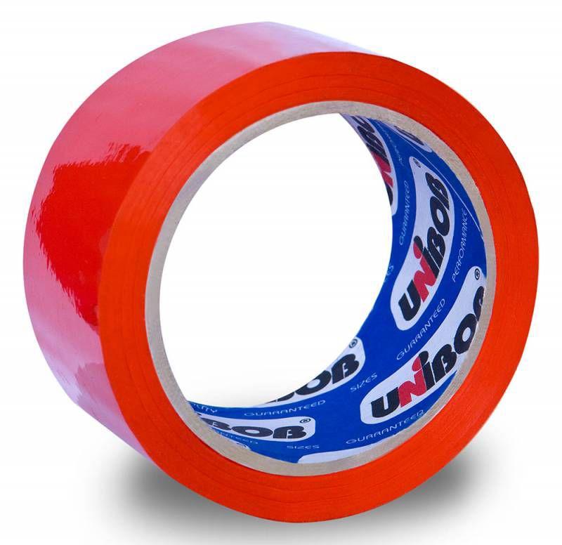 Клейкая лента упаковочная Unibob 600 41155 красная шир.48мм дл.66м 45мкр