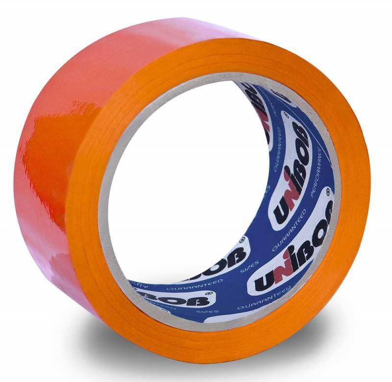 Клейкая лента упаковочная Unibob 600 41156 оранжевая шир.48мм дл.66м 45мкр