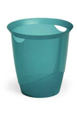 Корзина для бумаг DURABLE Trend, 16л, прозрачный пластик, круглая, светло-голубой [1701710014]