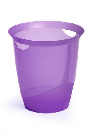 Корзина для бумаг DURABLE Trend, 16л, прозрачный пластик, круглая, фиолетовый [1701710992]