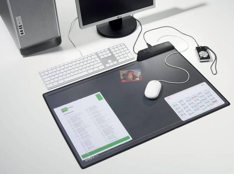 Настольное покрытие Durable (7215-01) 68х43.5см черный прозрачный верхний слой встроенный USB-хаб
