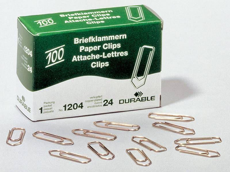 Скрепки Durable 1204-24 медь домик 26мм (упак.:100шт) картонная коробка