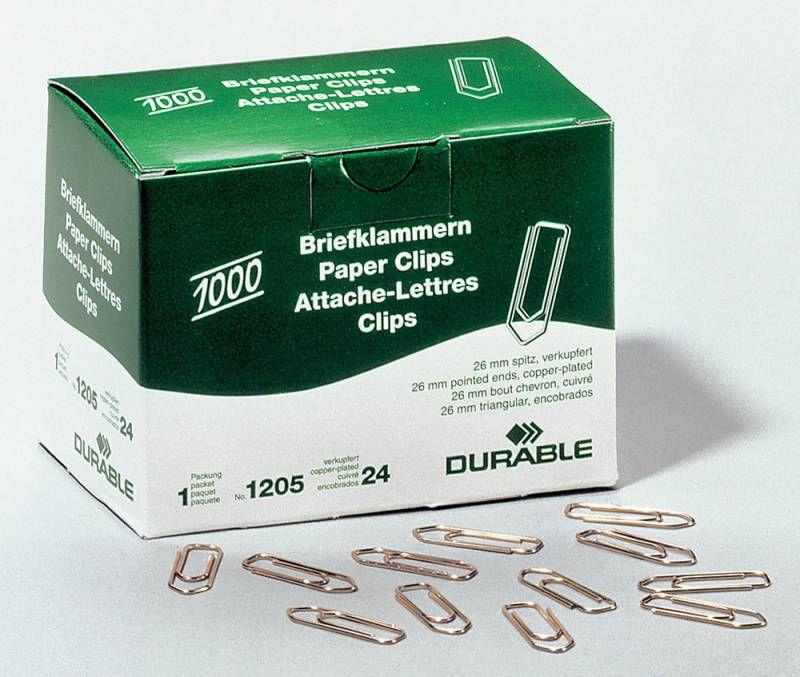 Скрепки Durable 1205-24 медь домик 26мм (упак.:1000шт) картонная коробка