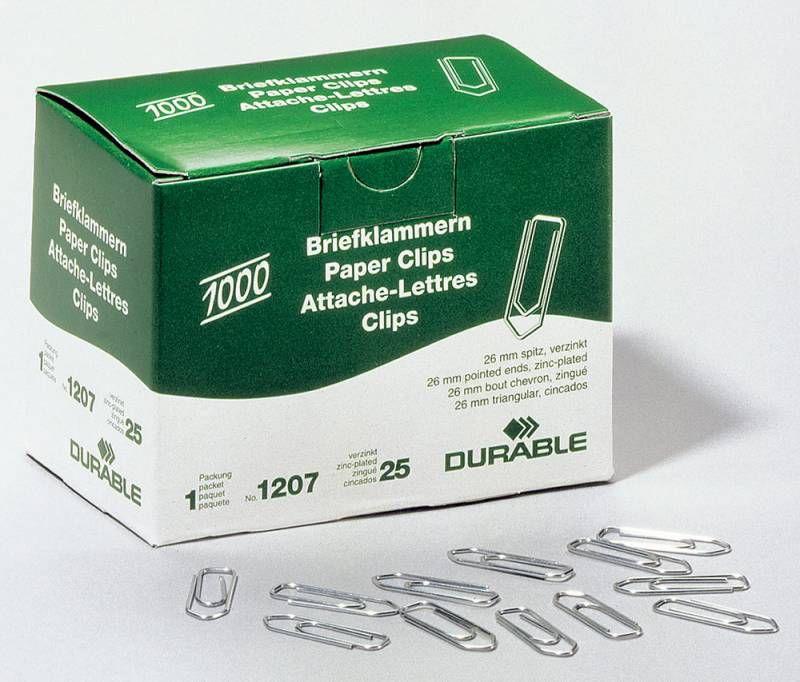 Скрепки Durable 1207-25 цинк оцинкованные домик 26мм (упак.:1000шт) картонная коробка