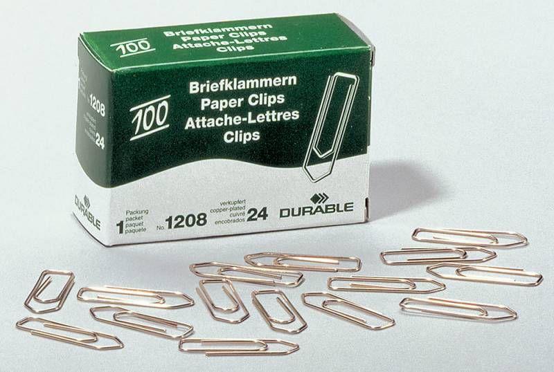 Скрепки Durable 1208-24 медь домик 32мм (упак.:100шт) картонная коробка