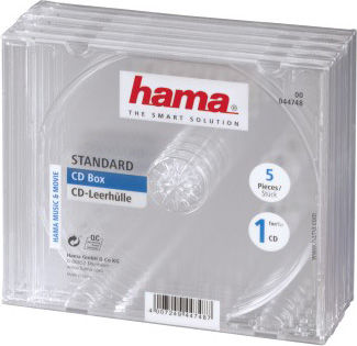 Коробка HAMA H-44748 Jewel, 5 [00044748]Конверты, коробки, портмоне<br>количество: 5; для CD; материал: пластик<br><br>Материал: пластик<br>Цвет: нет