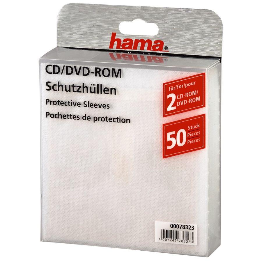 Конверт HAMA H-78323, 50шт., белый, для 2 дисков [00078323]