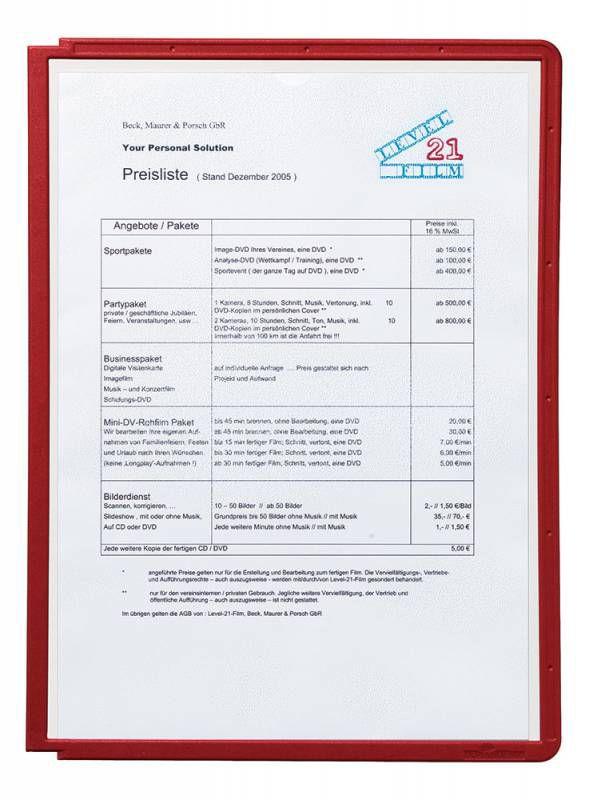 Демонстрационная панель для демонстрационных систем Durable Sherpa 560603 красный