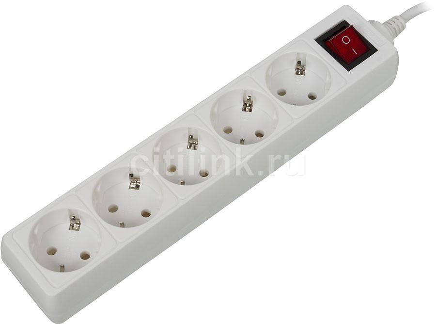 Сетевой удлинитель BURO BU-PS5.5/W, 5м, белый