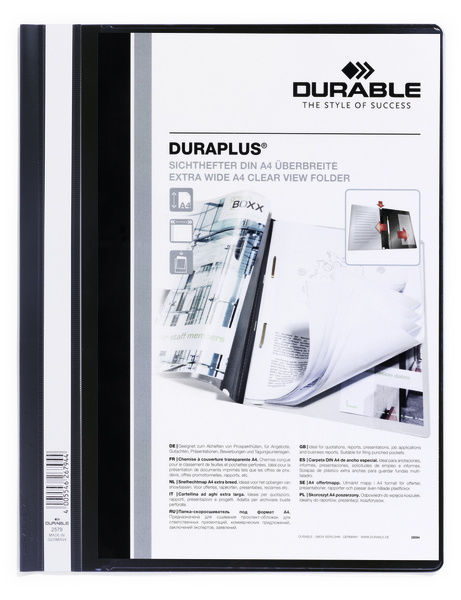 Папка-скоросшиватель Durable Duralook Plus 257901 A4+ прозрач.верх.лист карман черный