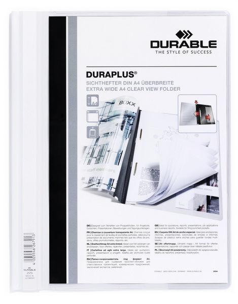 Папка-скоросшиватель Durable Duraplus 257902 A4+ прозрач.верх.лист карман белый