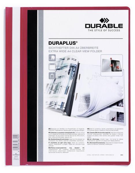 Папка-скоросшиватель Durable Duraplus 257903 A4+ прозрач.верх.лист карман красный