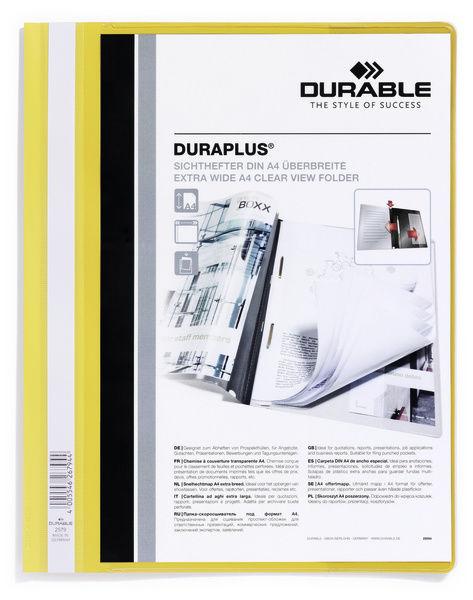 Папка-скоросшиватель Durable Duraplus 2579-04 A4+ прозрач.верх.лист карман пластик желтый