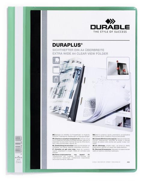 Папка-скоросшиватель Durable Duraplus 257905 A4+ прозрач.верх.лист карман зеленый