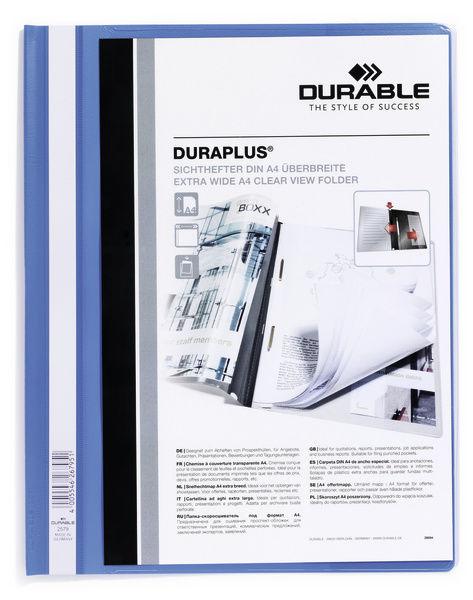 Папка-скоросшиватель Durable Duraplus 2579-06 A4+ прозрач.верх.лист карман пластик синий