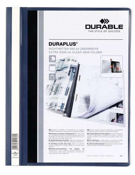 Папка-скоросшиватель Durable Duraplus 2579-07 A4+ прозрач.верх.лист карман пластик темно-синий