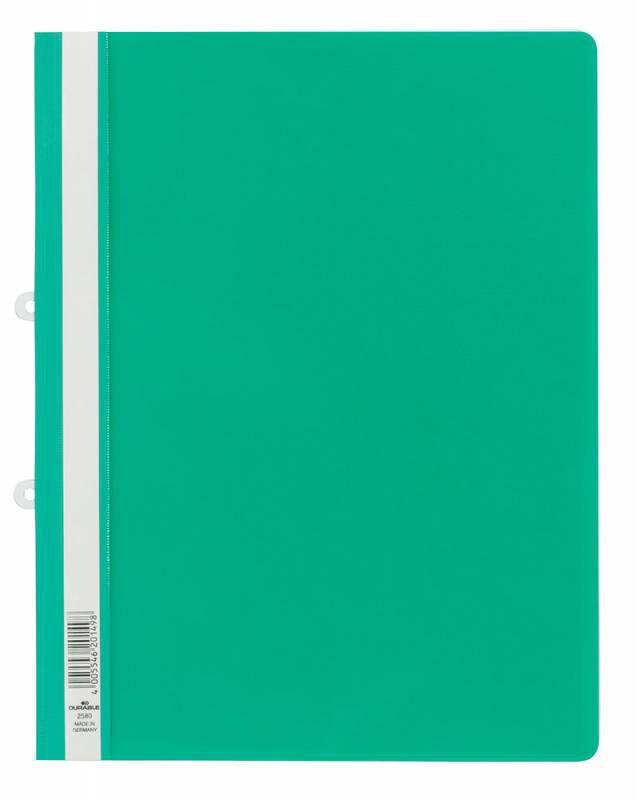 Папка-скоросшиватель Durable 2580-05 прозрач.верх.лист боков.перф. пластик зеленый