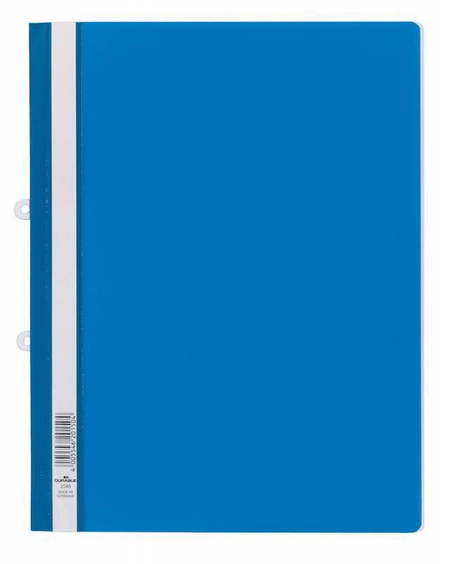 Папка-скоросшиватель Durable 2580-06 прозрач.верх.лист боков.перф. пластик синий