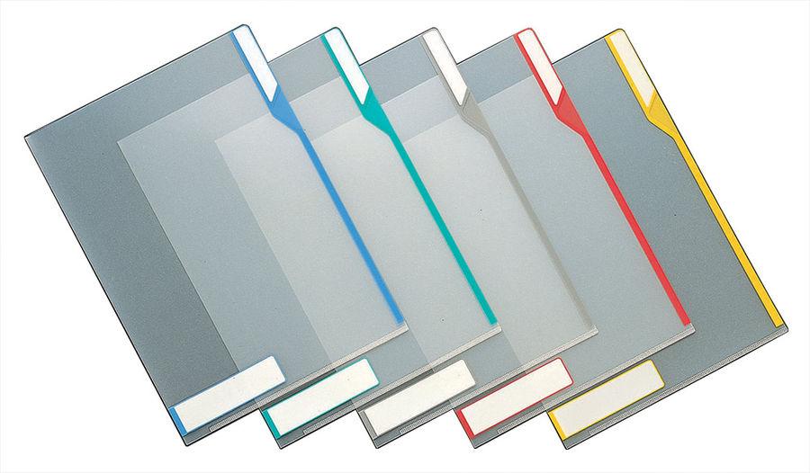 Папка-уголок Kokuyo FU-KM750NM A4 пластик антибактериальный 0.2мм инфо окно прозрачный серый табулят