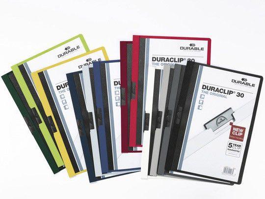Папка с клипом Durable Duraclip 220004 прозрач. верх.лист A4 1-30лист. желтый