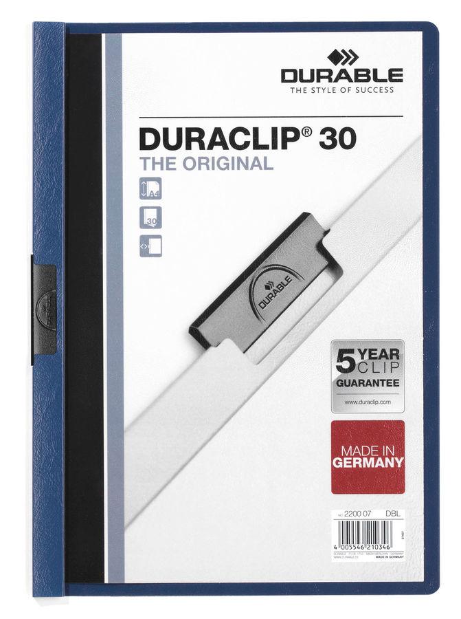 Папка с клипом Durable Duraclip 2200-07 прозрач. верх.лист A4 1-30лист. темно-синий