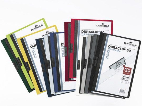 Папка с клипом Durable Duraclip 2200-31 прозрач. верх.лист A4 1-30лист. бордовый