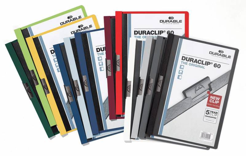 Папка с клипом Durable Duraclip 220900 прозрач. верх.лист A4 1-60лист. ассорти