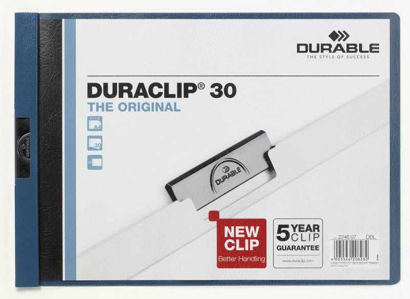Папка с клипом Durable Duraclip Original 224607 A4 1-30лист. темно-синий