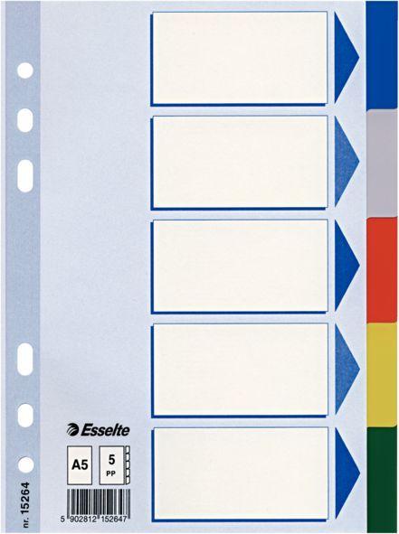 Разделитель индексный Esselte 15264 A5 пластик 5 индексов цветные разделы