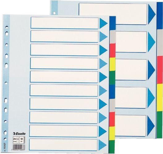 Разделитель индексный Esselte 15267 A4+ пластик 10 индексов цветные разделы