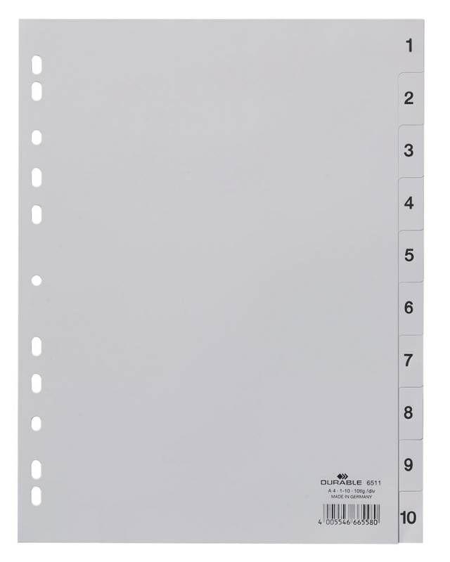 Разделитель индексный Durable 651110 A4 пластик 10 индексов 1-10 серые разделы