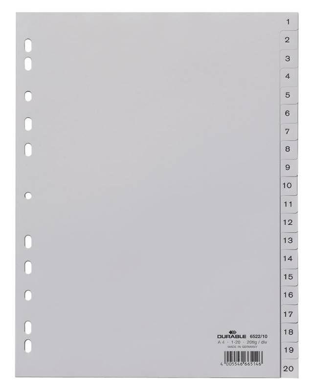 Разделитель индексный Durable 6522-10 A4 пластик 20 индексов 1-20